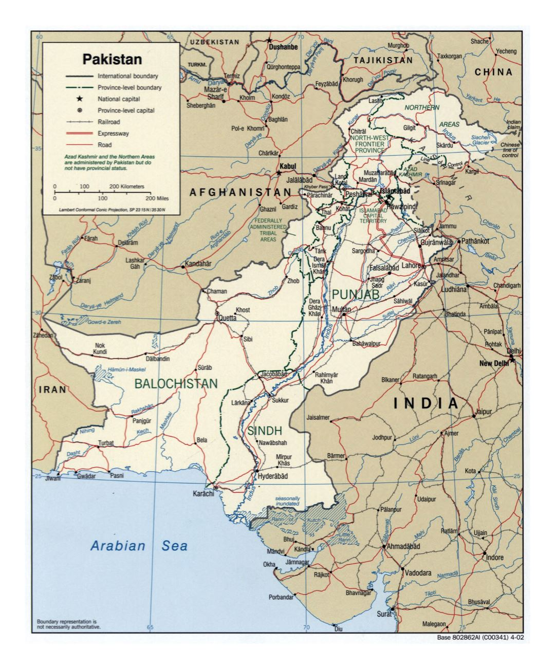 Large detailed political and administrative map of Pakistan with roads, railroads and major cities - 2002