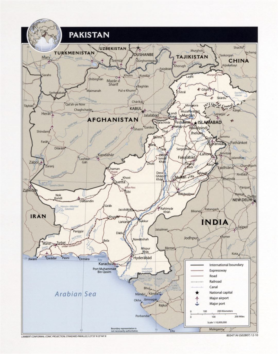 Large detailed political map of Pakistan with roads, railroads, cities, airports, ports and other marks - 2010