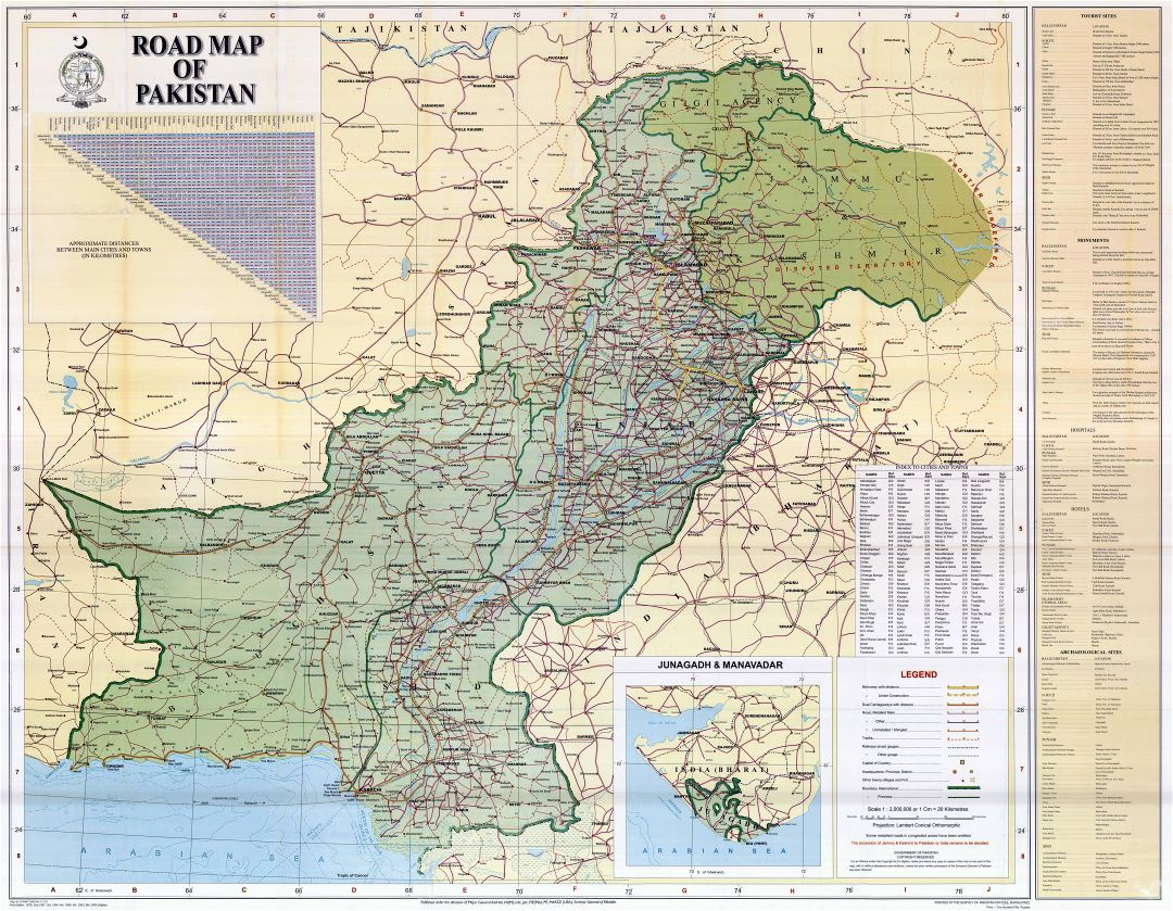 Large detailed road map of Pakistan with all cities and other marks