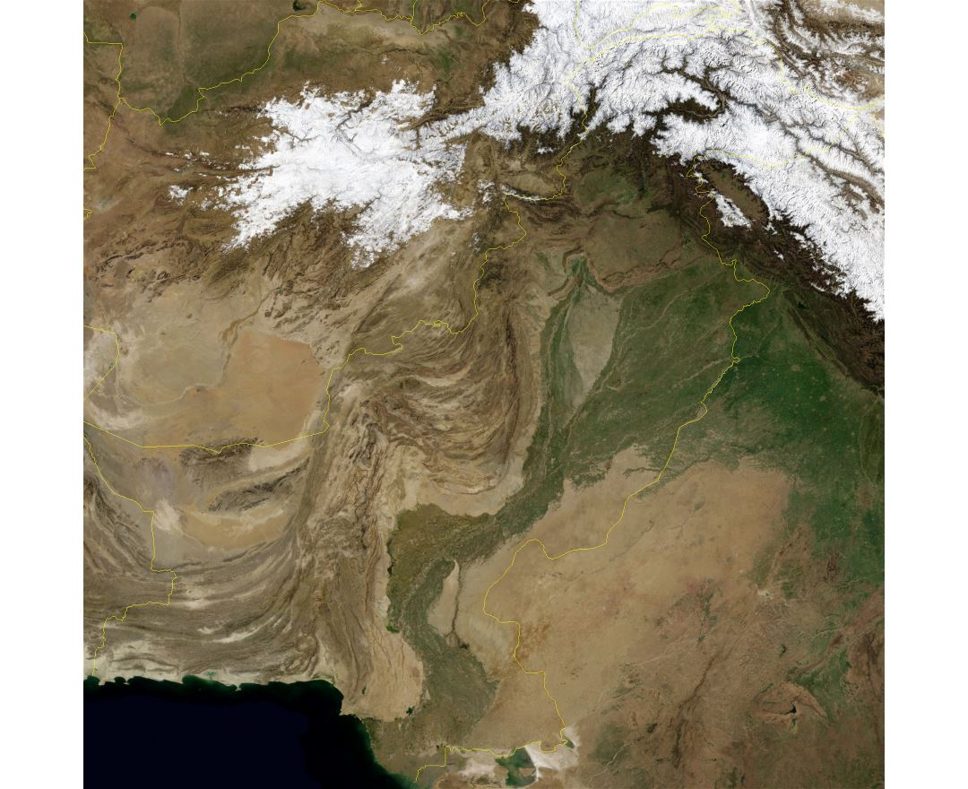Large detailed satellite map of Pakistan