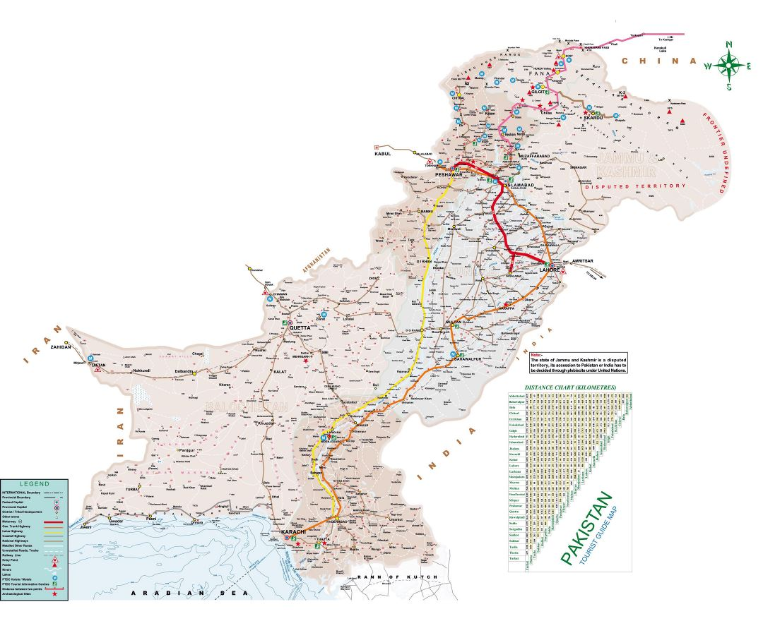 Large detailed tourist guide map of Pakistan
