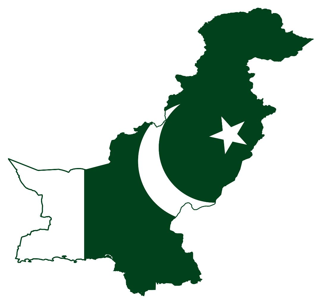 Large flag map of Pakistan