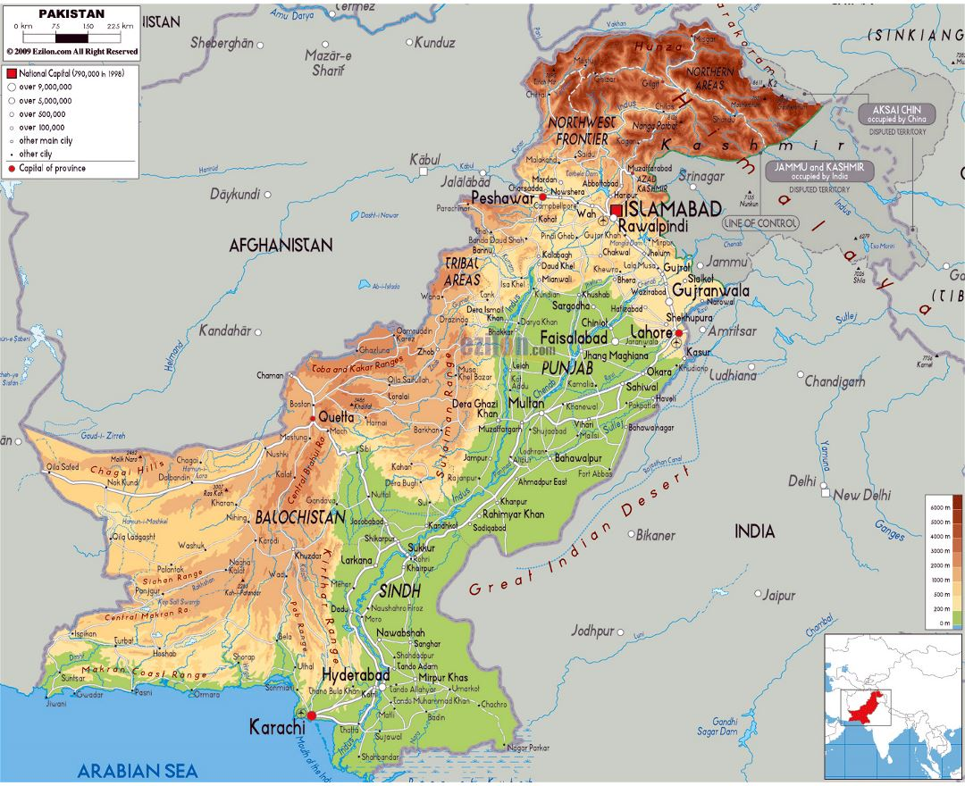 Large physical map of Pakistan with roads, cities and airports