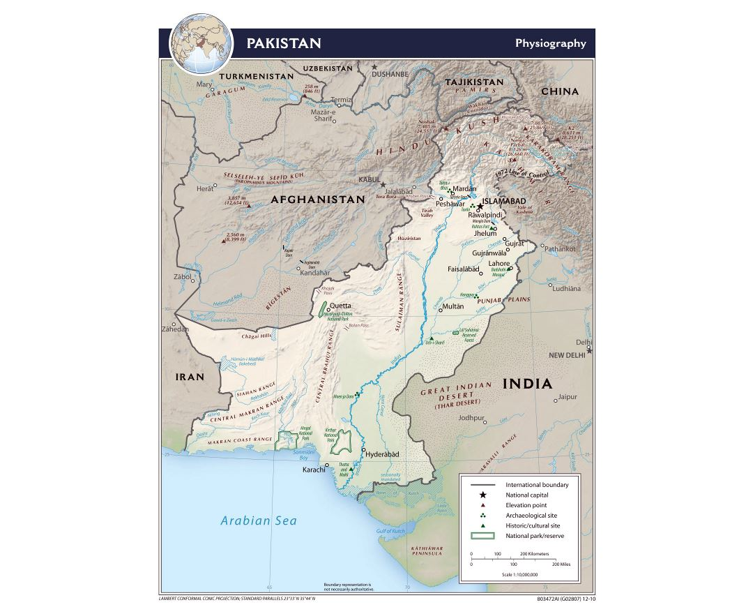 Large physiography map of Pakistan - 2010