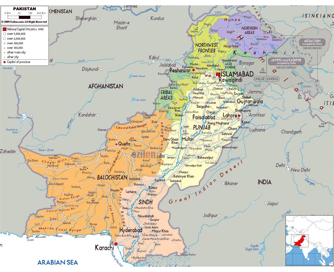 Large political and administrative map of Pakistan with roads, cities and airports