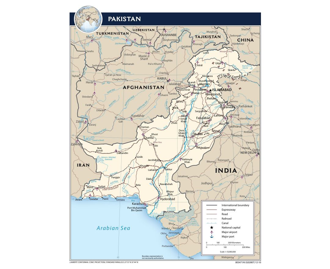 Large political map of Pakistan with roads, railroads, cities, airports, ports and other marks - 2010
