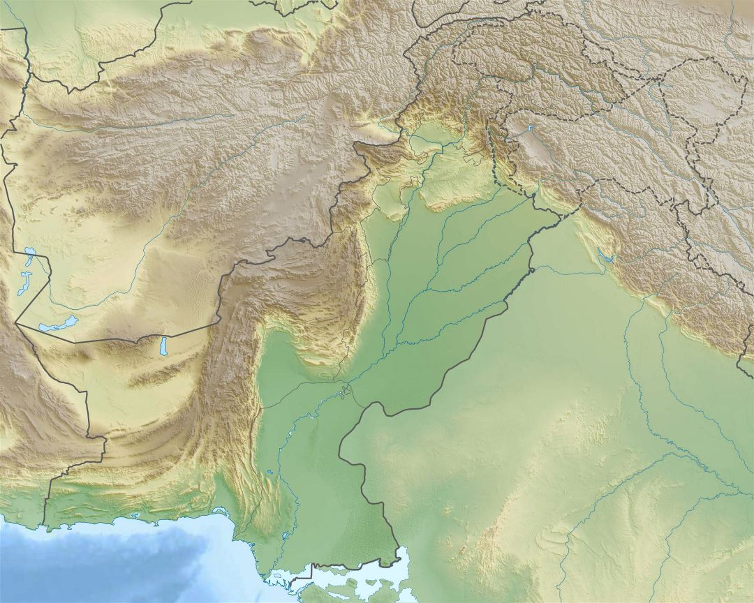 Large relief map of Pakistan