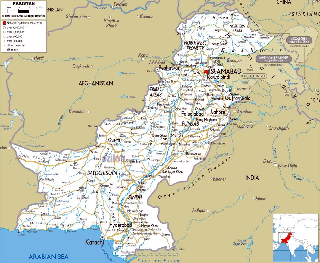 Large road map of Pakistan with cities and airports
