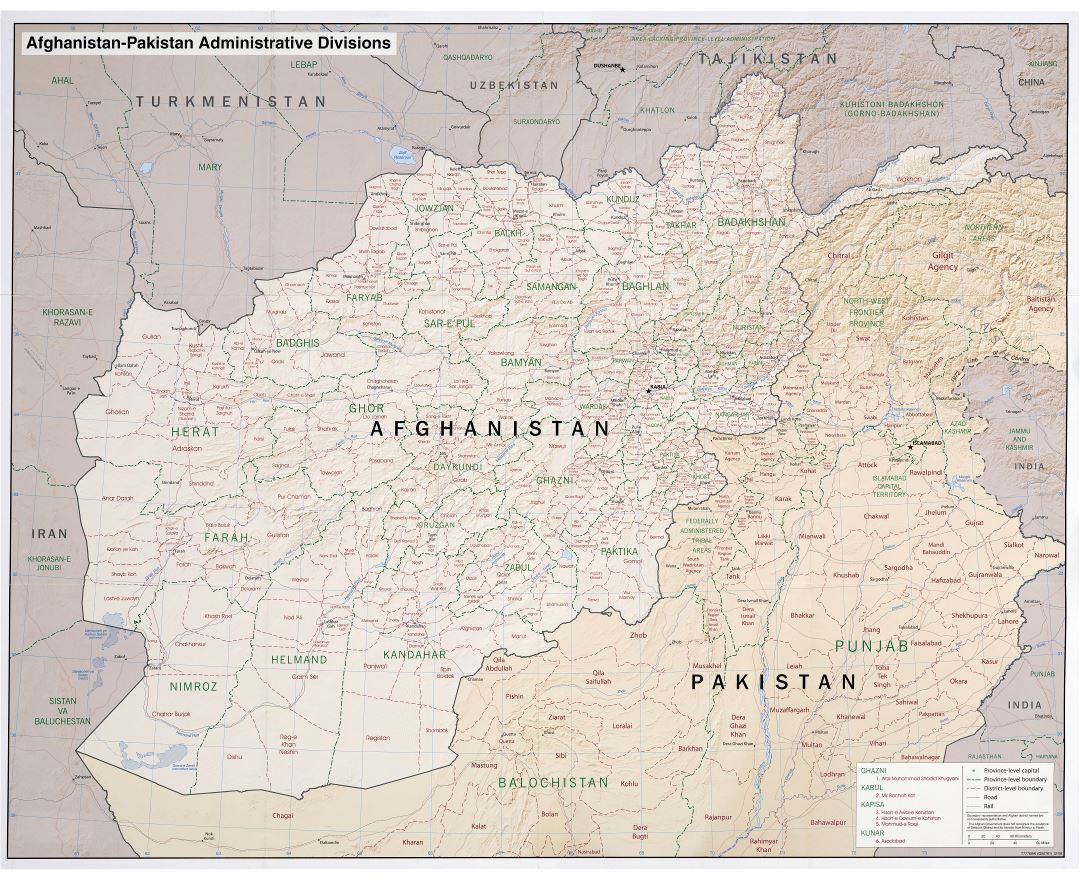 Large scale administrative divisions map of Afghanistan and Pakistan with relief, roads, railroads and major cities - 2008