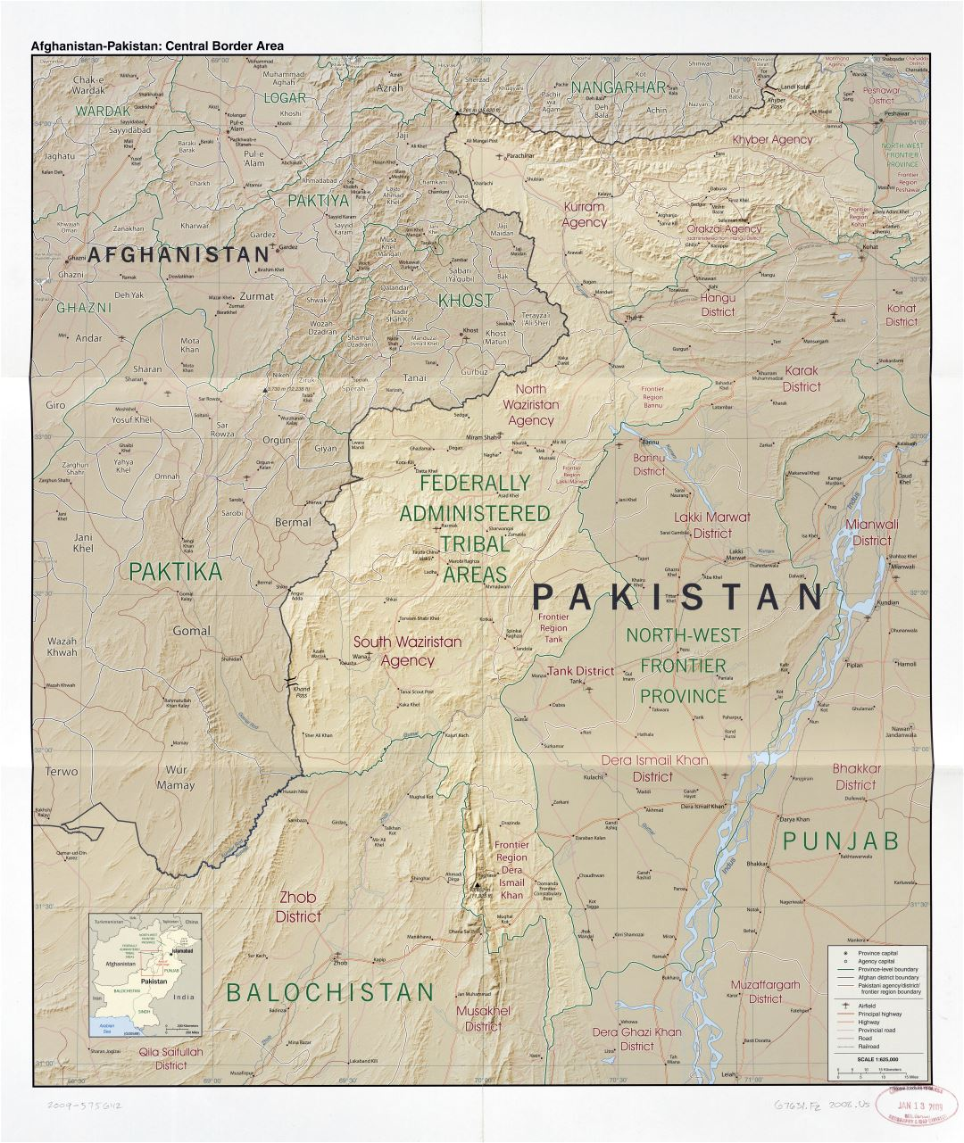 Large scale detailed Afghanistan - Pakistan central border area map with relief, administrative divisions, roads, railroads, airfields and cities - 2008