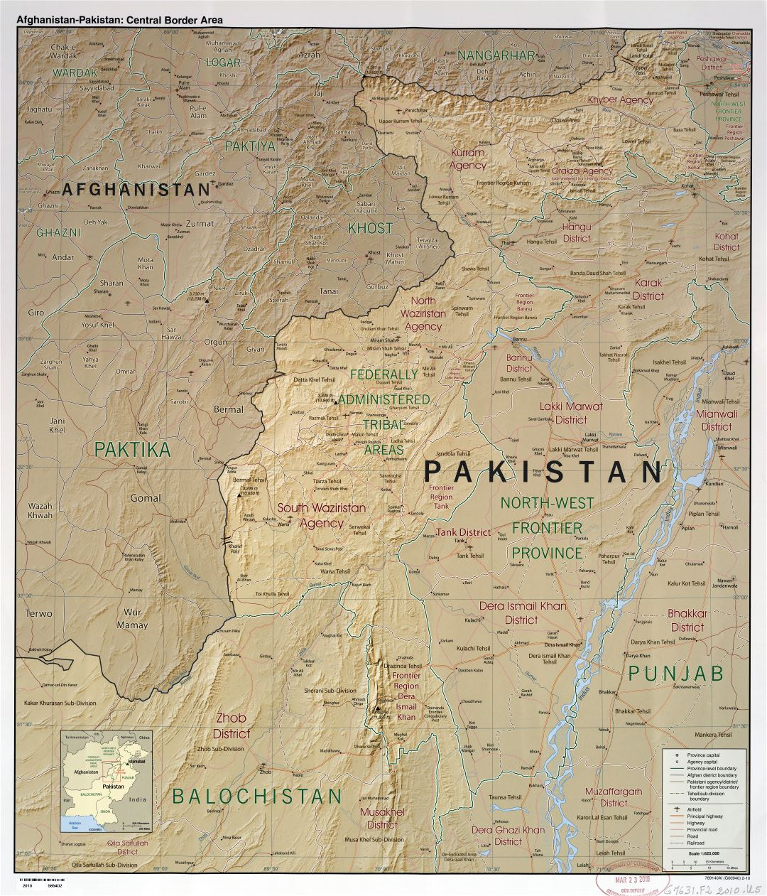 Large scale detailed Afghanistan - Pakistan central border area map with relief, administrative divisions, roads, railroads, airfields and cities - 2010