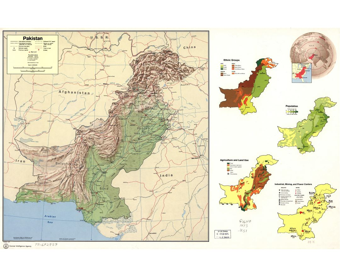 Large scale detailed country profile map of Pakistan - 1973