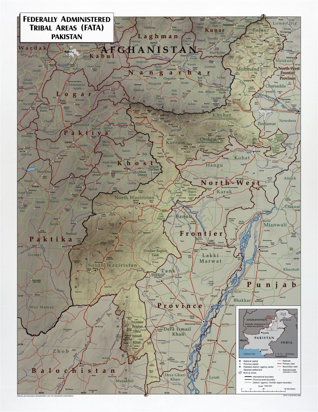 Large scale detailed Federally Administered Tribal Areas (FATA) of Pakistan map with relief, roads, railroads and cities - 2009