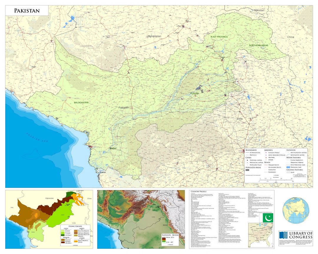 Large scale detailed map of Pakistan - 2009
