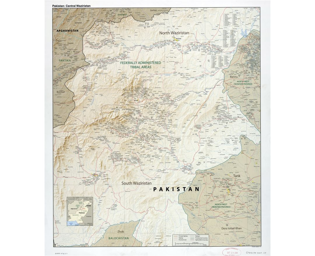 Large scale detailed map of Pakistan (Central Waziristan) with relief, roads, railroads, all cities and villages - 2007