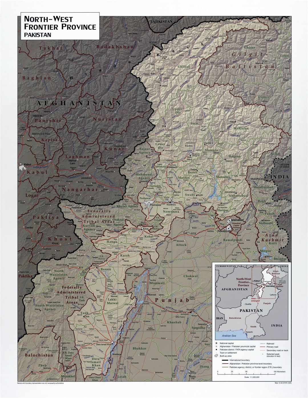Large scale detailed North West Frontier Province of Pakistan map with relief, roads, railroads and cities - 2009