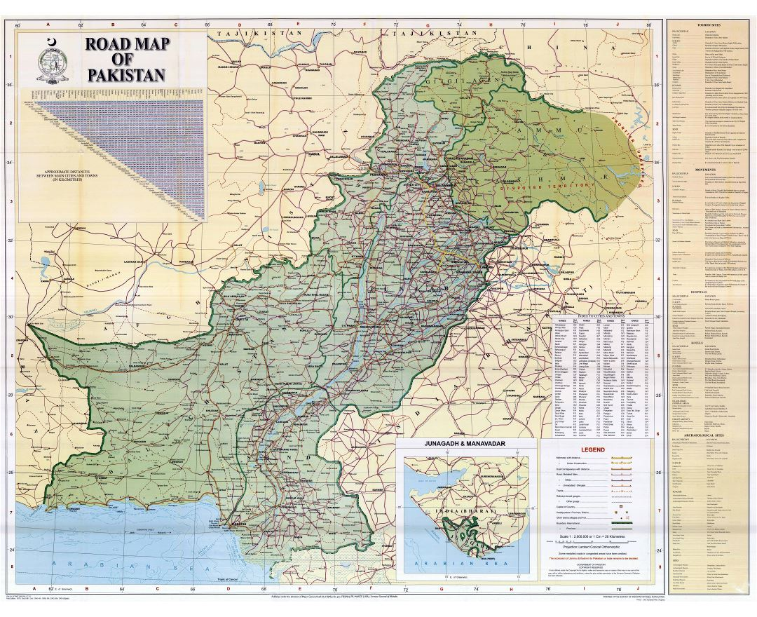Large scale detailed road map of Pakistan with all cities and other marks