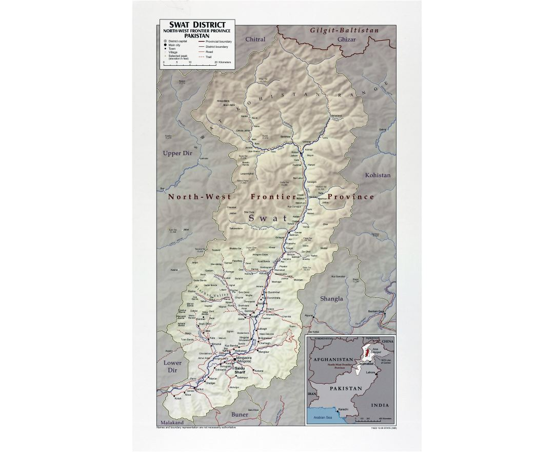 Large scale Swat District North West Frontier Province map of Pakistan with relief, roads, cities, towns and villages - 2009