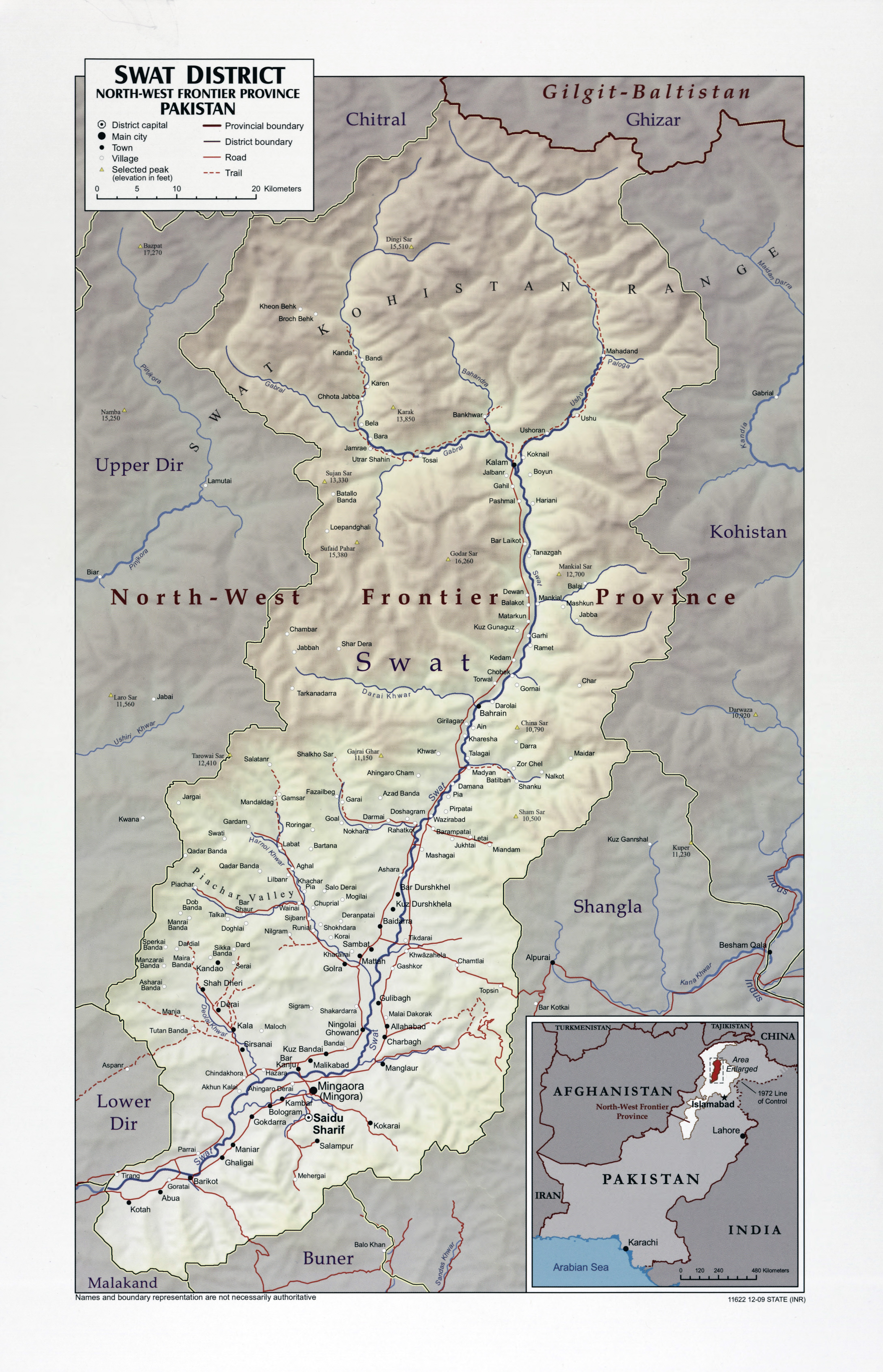 Large scale Swat District North West Frontier Province map of