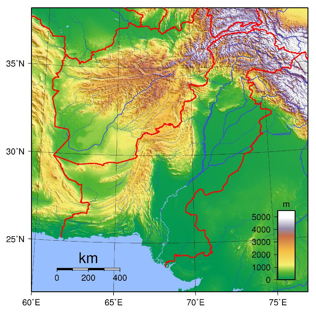 Large topographical map of Pakistan