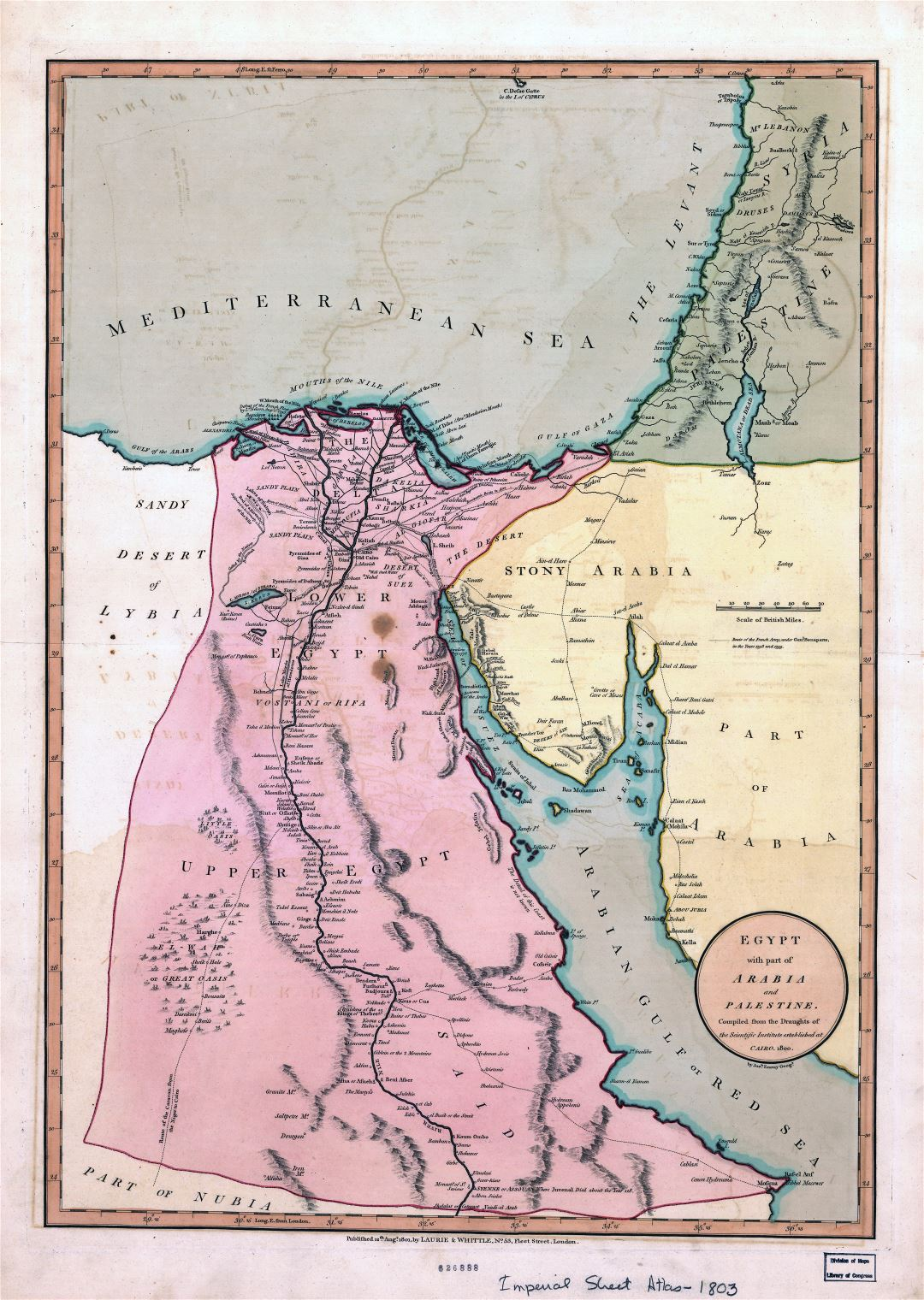 Large detailed old map of Egypt with part of Arabia and Palestine - 1800