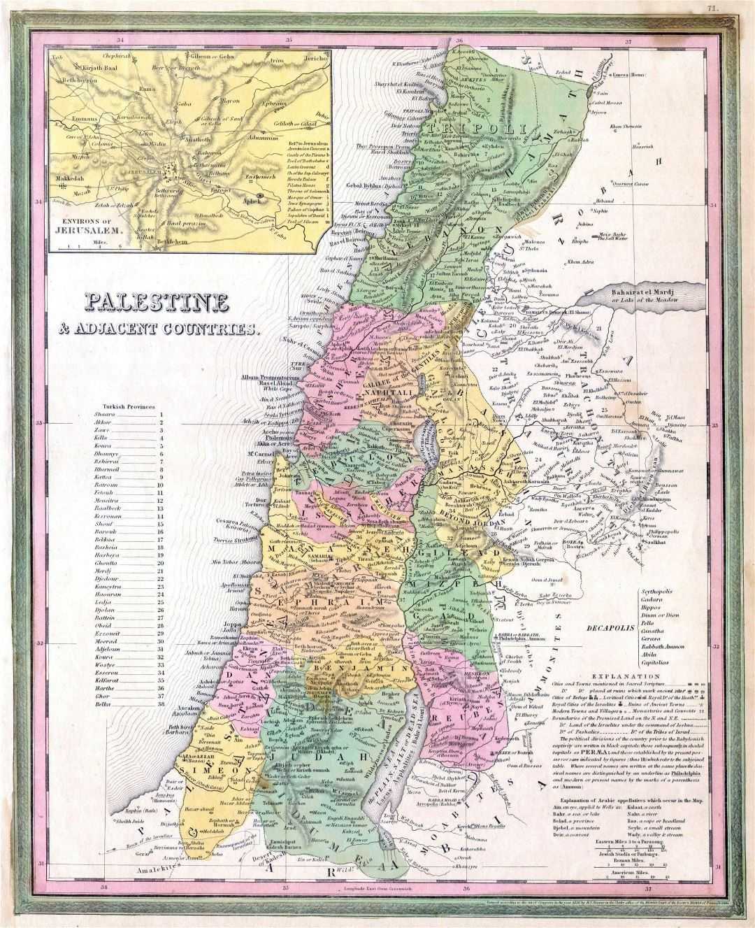 Large detailed old map of Palestine and adjacent countries - 1836