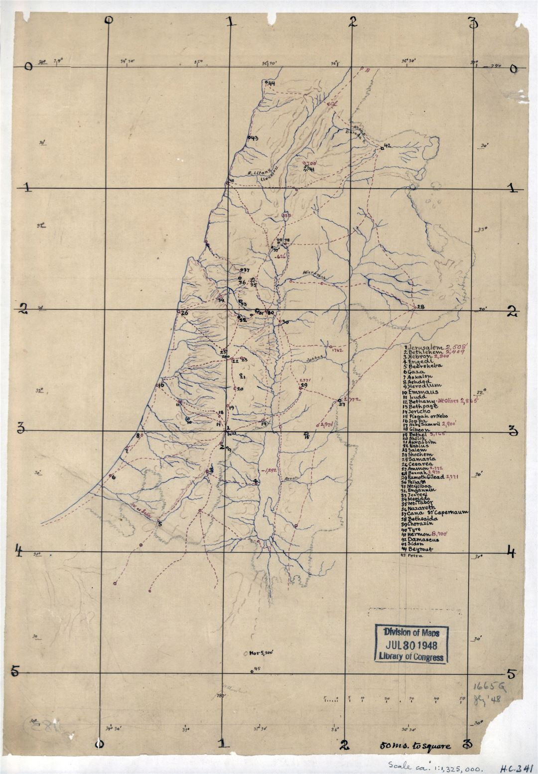 Large detailed old sketch map of Palestine - 188x