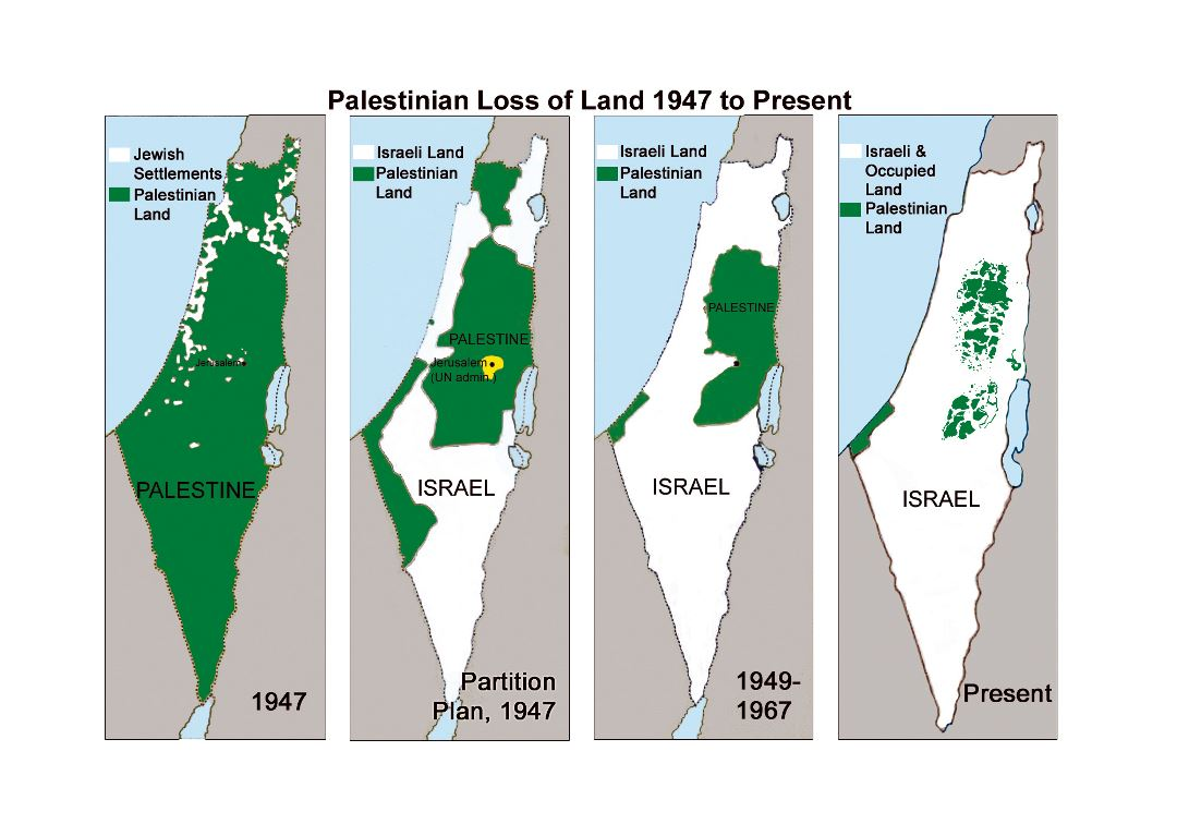Large map of Palestinian loss of land - 1947 to present