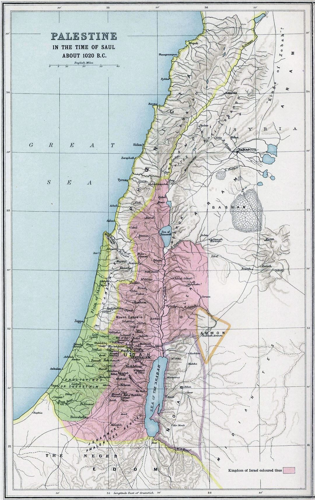 Large old map of Palestine 1020 B.C.