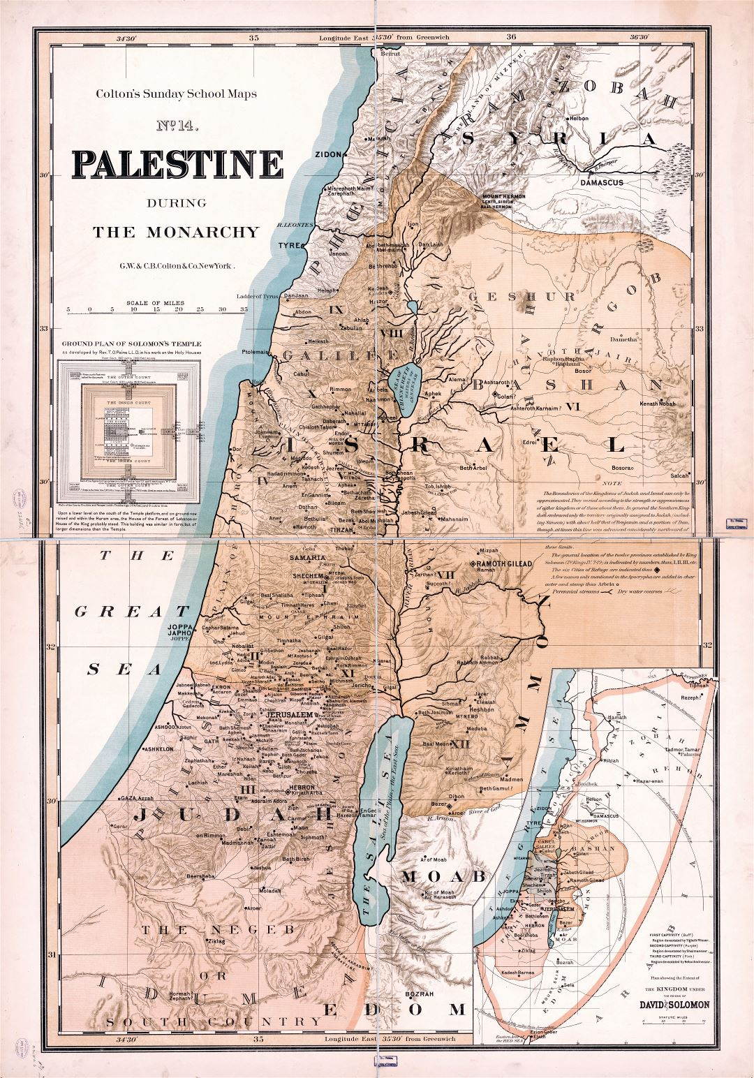 Large scale detailed old map of Palestine during the monarchy - 1895