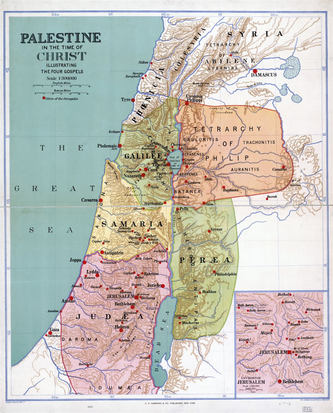 Large scale detailed old map of Palestine in the time of Christ - 1916
