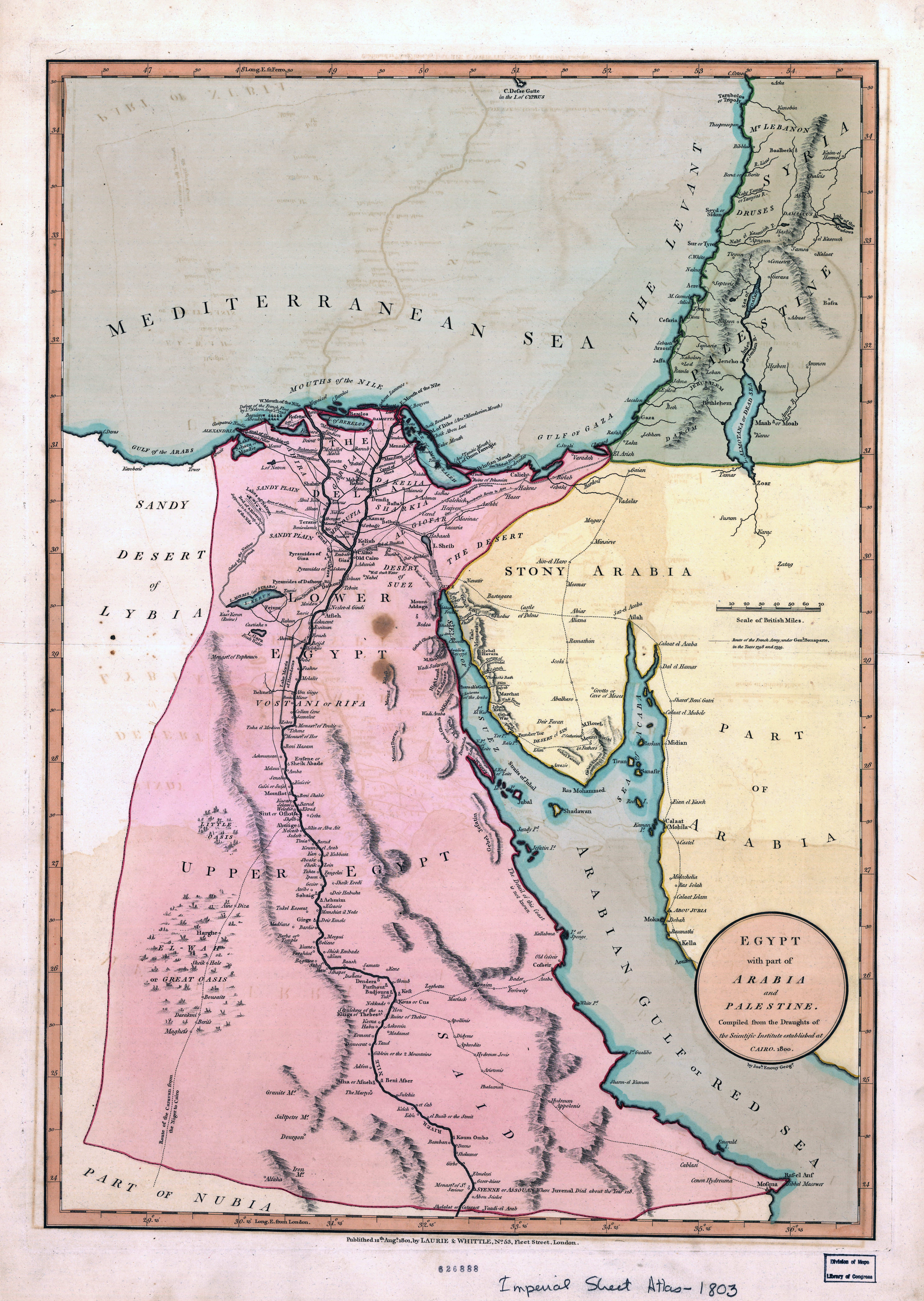 Large scale old map of Egypt with part of Arabia and Palestine – Map of Arabia