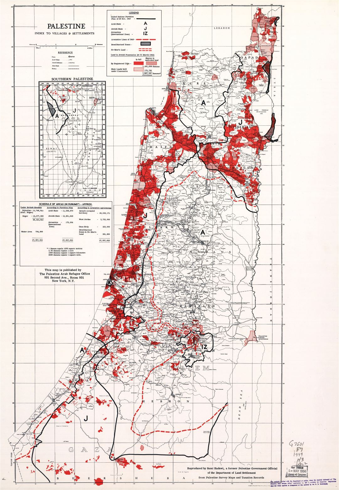 Large scale old map of Palestine - 1949