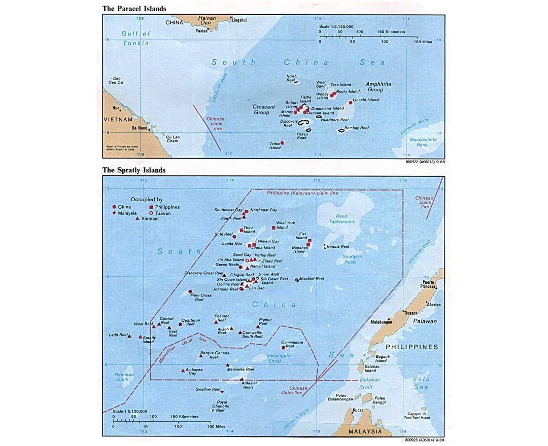 Detailed political map of Paracel Islands and Spratly Islands - 1988