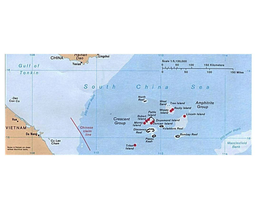 Detailed political map of Paracel Islands