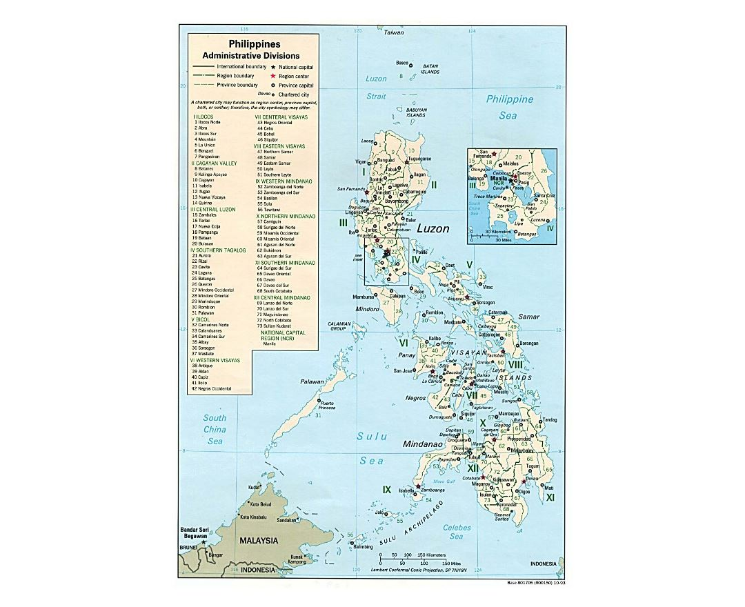 Detailed administrative divisions map of Philippines - 1993