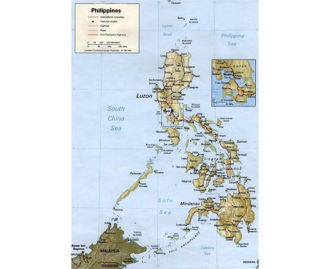 Detailed political map of Philippines with relief and other marks