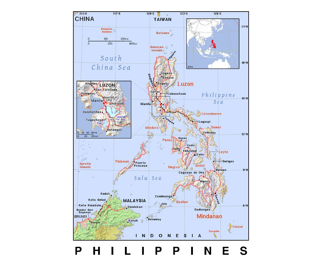 Detailed political map of Philippines with relief