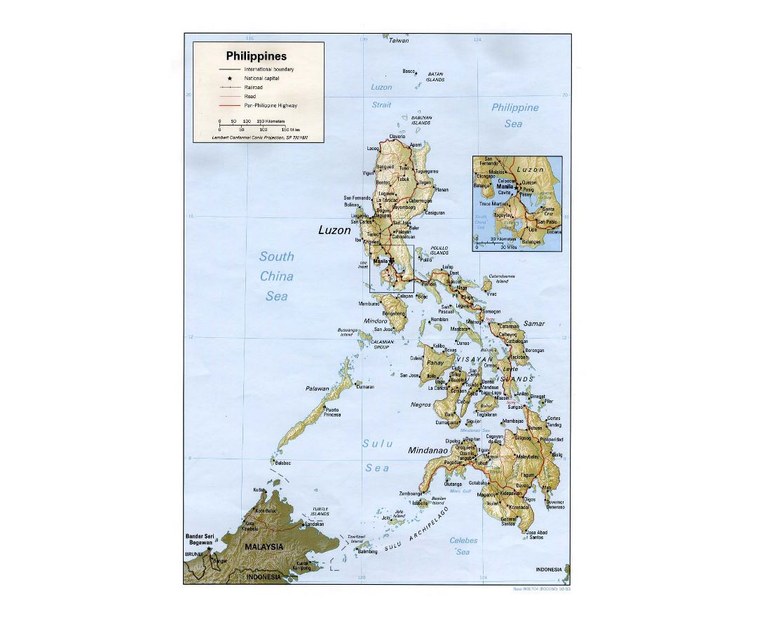 Detailed political map of Philippines with relief, roads, railroads and major cities - 1993