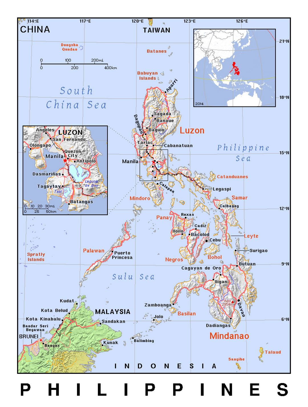 Detailed Political Map Of Philippines With Relief Philippines