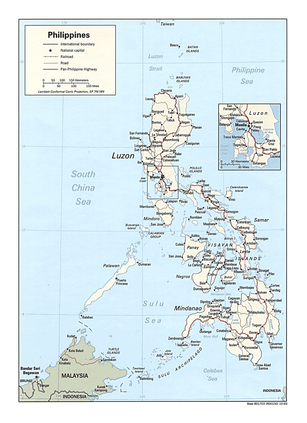 Detailed political map of Philippines with roads, railroads and major cities - 1993
