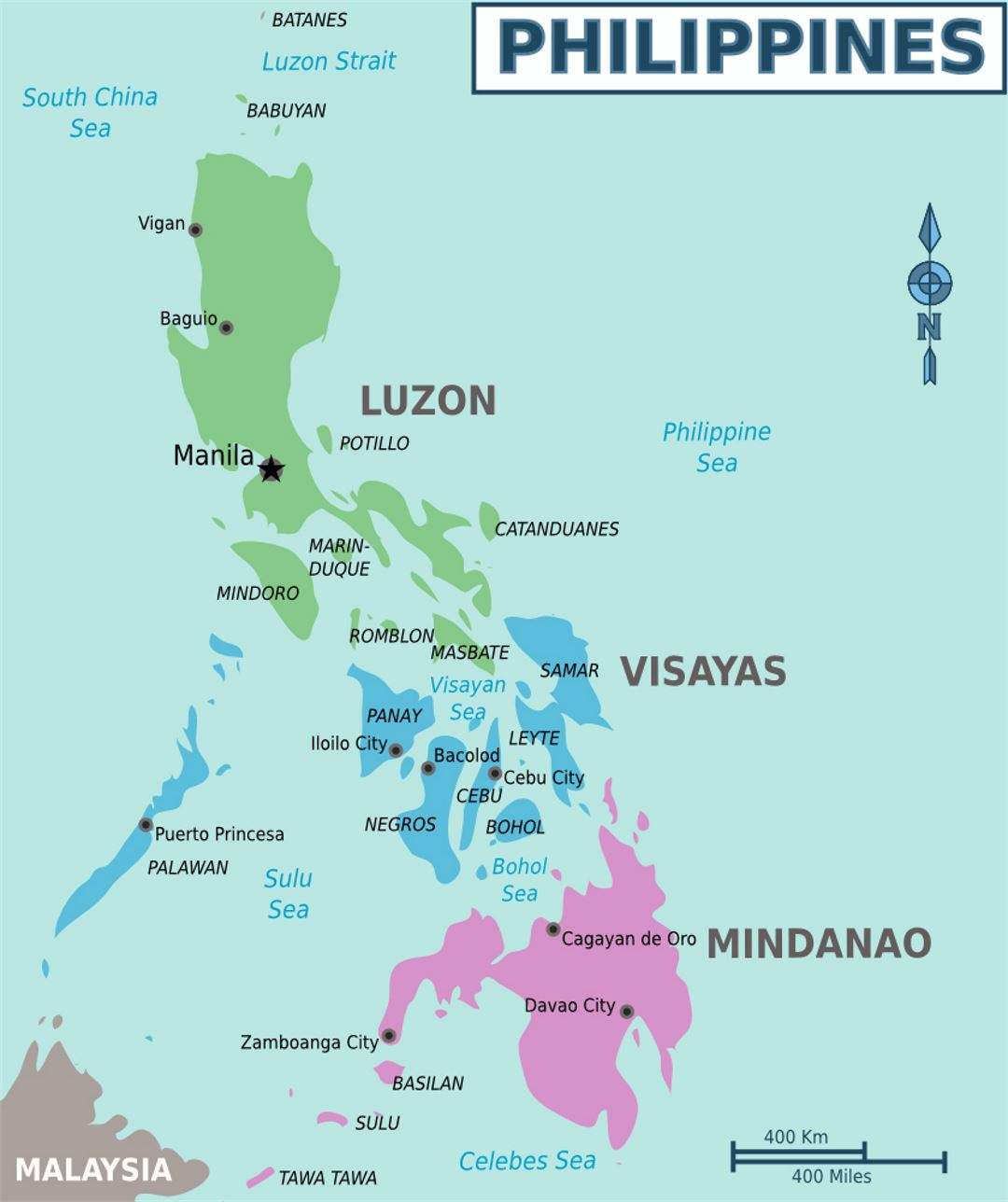 Detailed regions map of Philippines