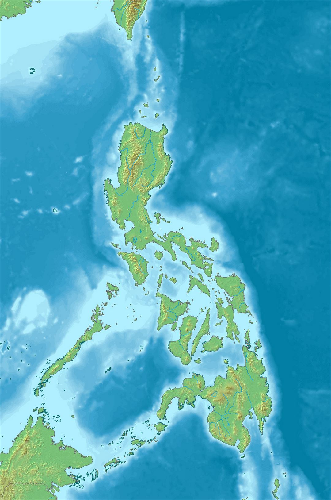 Detailed relief map of Philippines