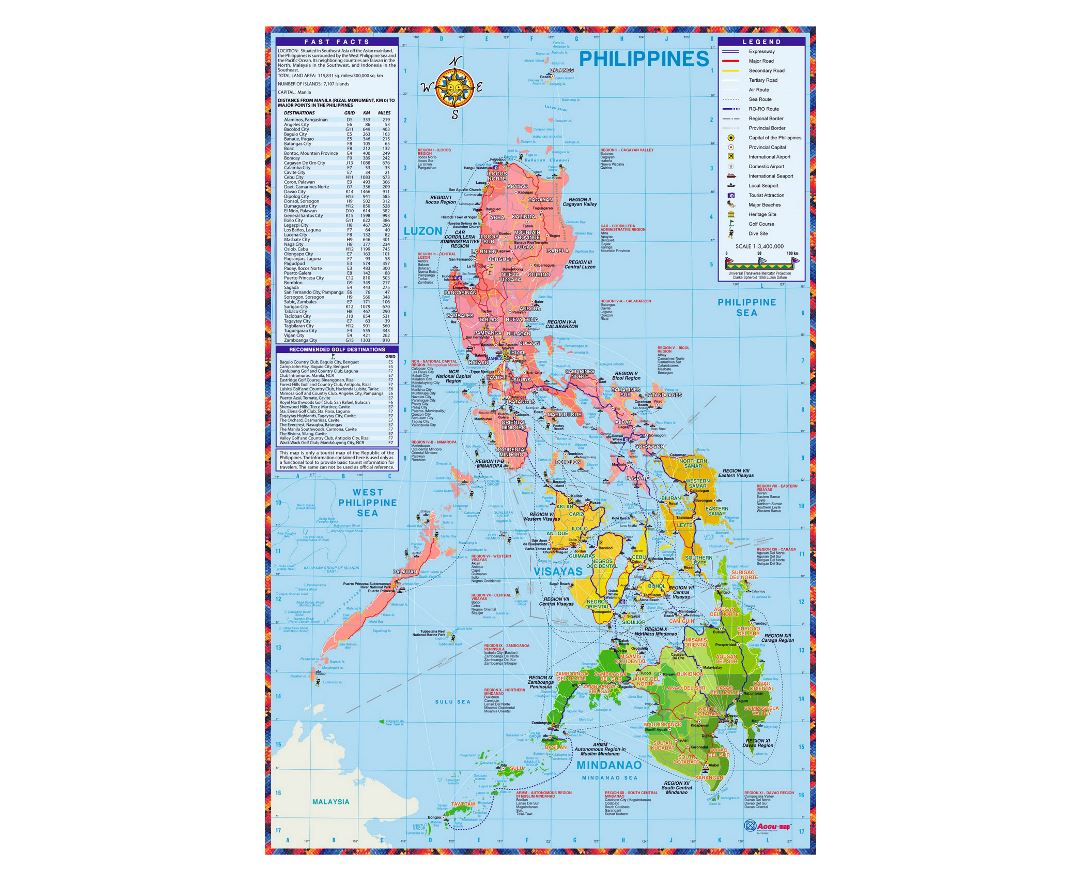 Detailed tourist map of Philippines