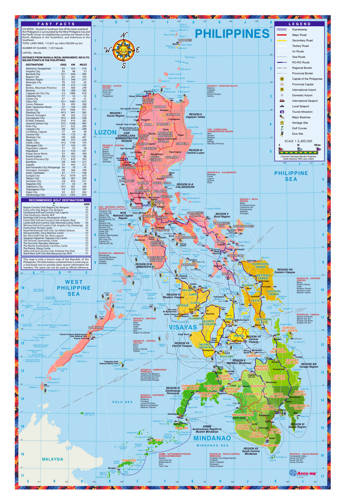 Detailed tourist map of Philippines | Philippines | Asia | Mapsland ...