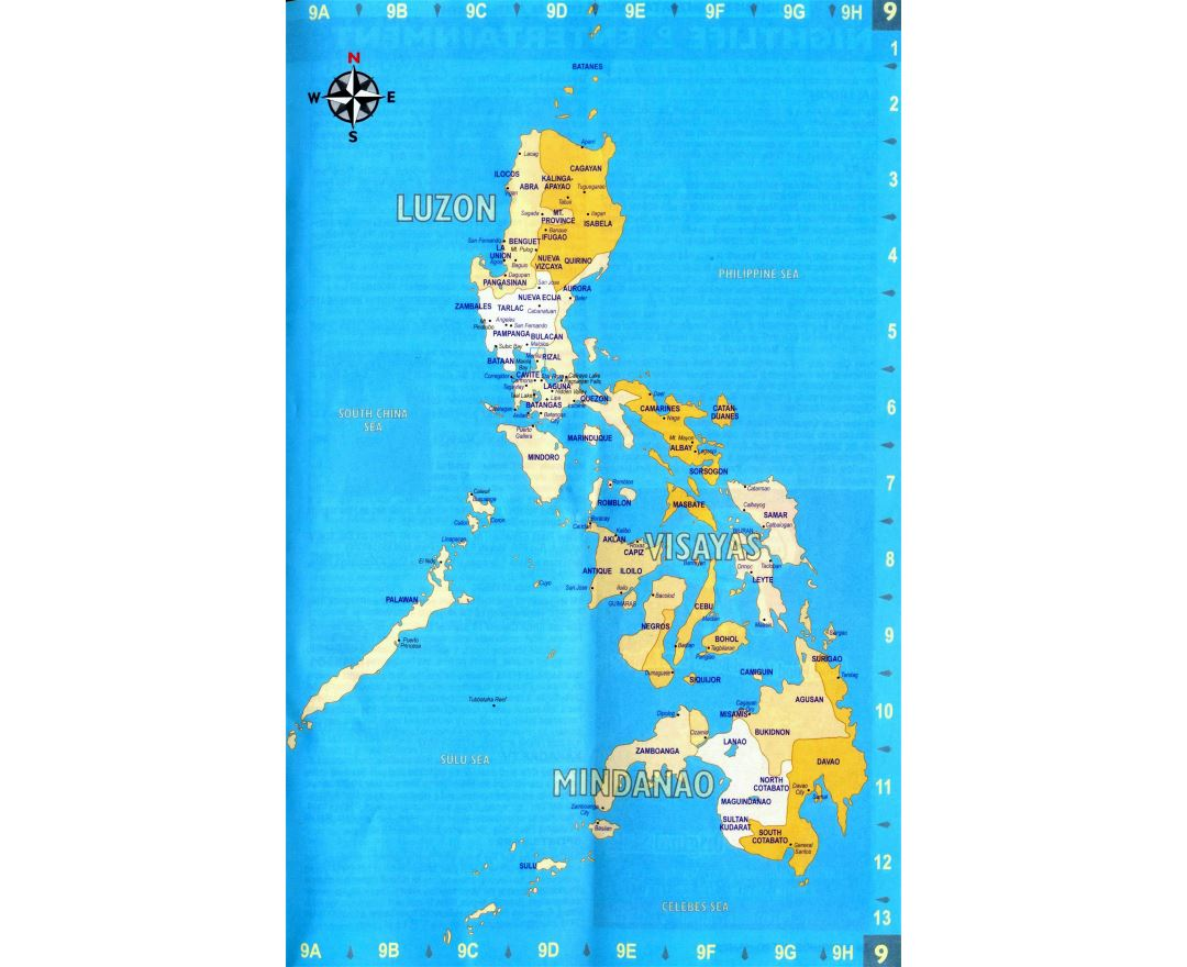 Large administrative map of Philippines with major cities