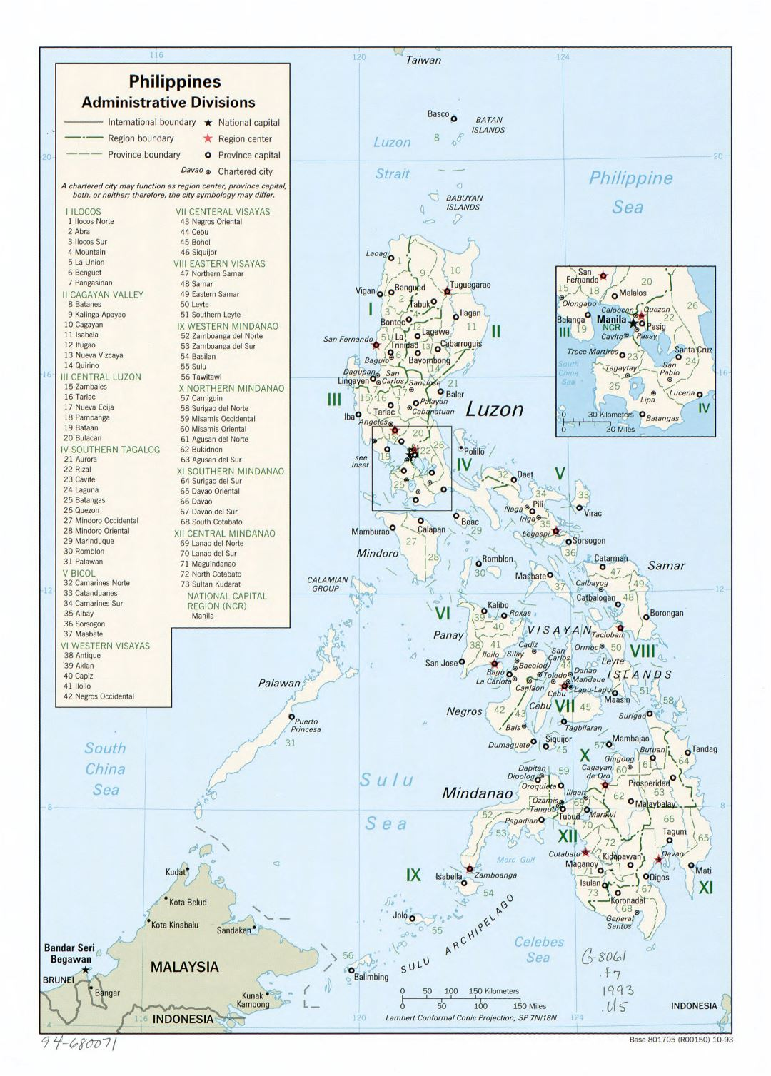 Large detailed administrative divisions map of Philippines - 1993