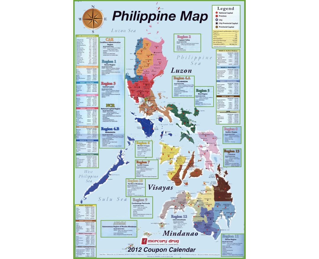 Large detailed administrative map of Philippines with other marks