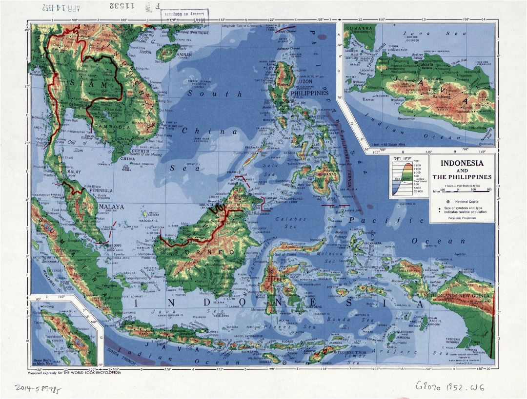 Large detailed elevation map of Indonesia and the Philippines - 1952