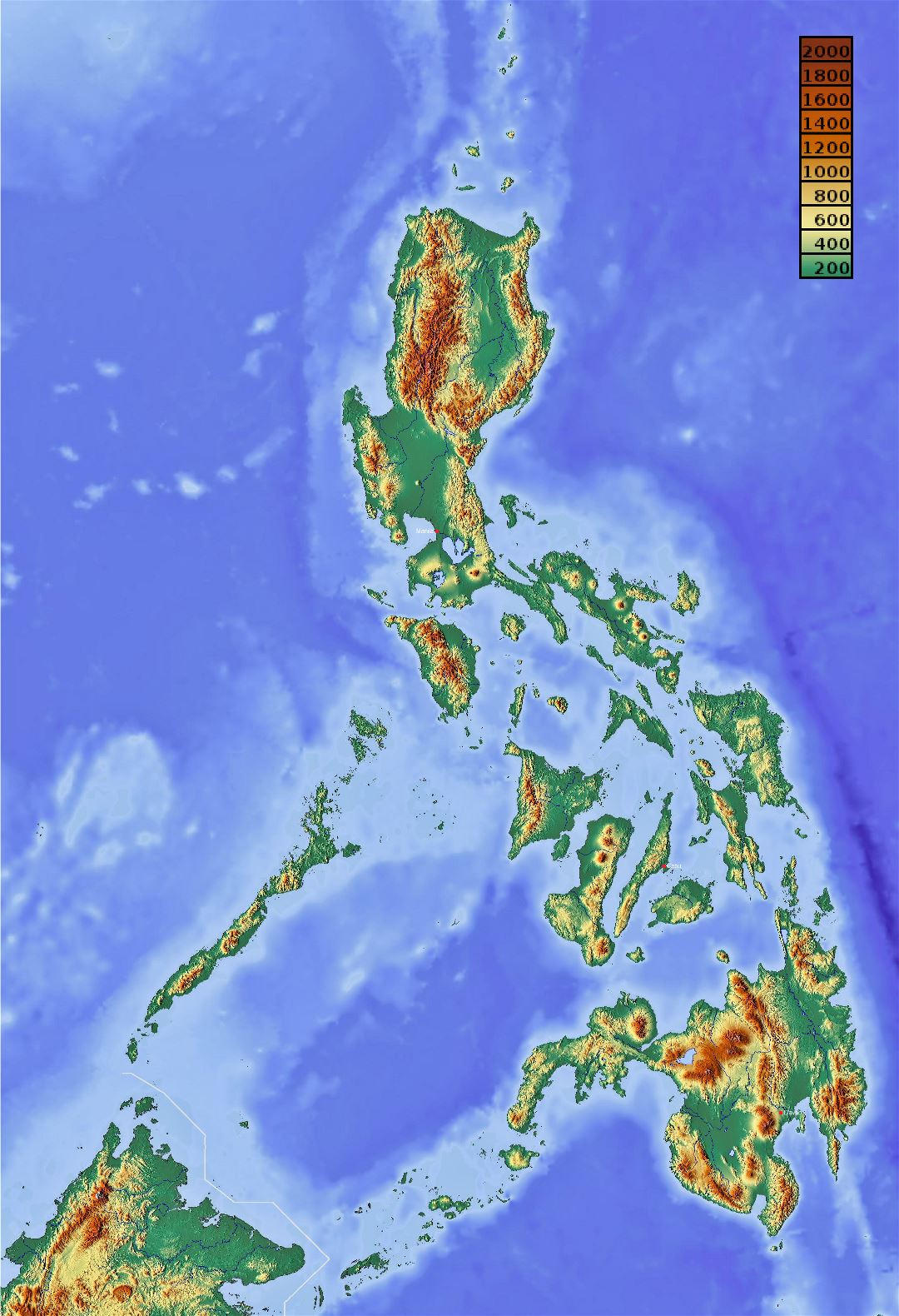 Large detailed elevation map of Philippines